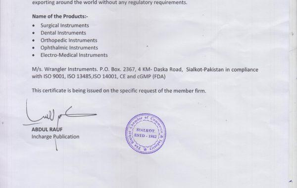 Free Sales Certificate SCCI